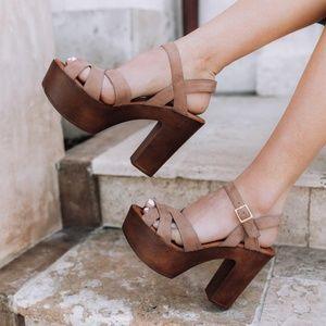 Strappy Platform Heels - Taupe